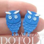 Cute Owl Bird Animal Feather Stud E..