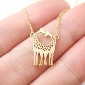 Giraffe Kissing Silhouette Shaped C..