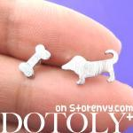 Puppy Dog and Bone Animal Stud Earr..