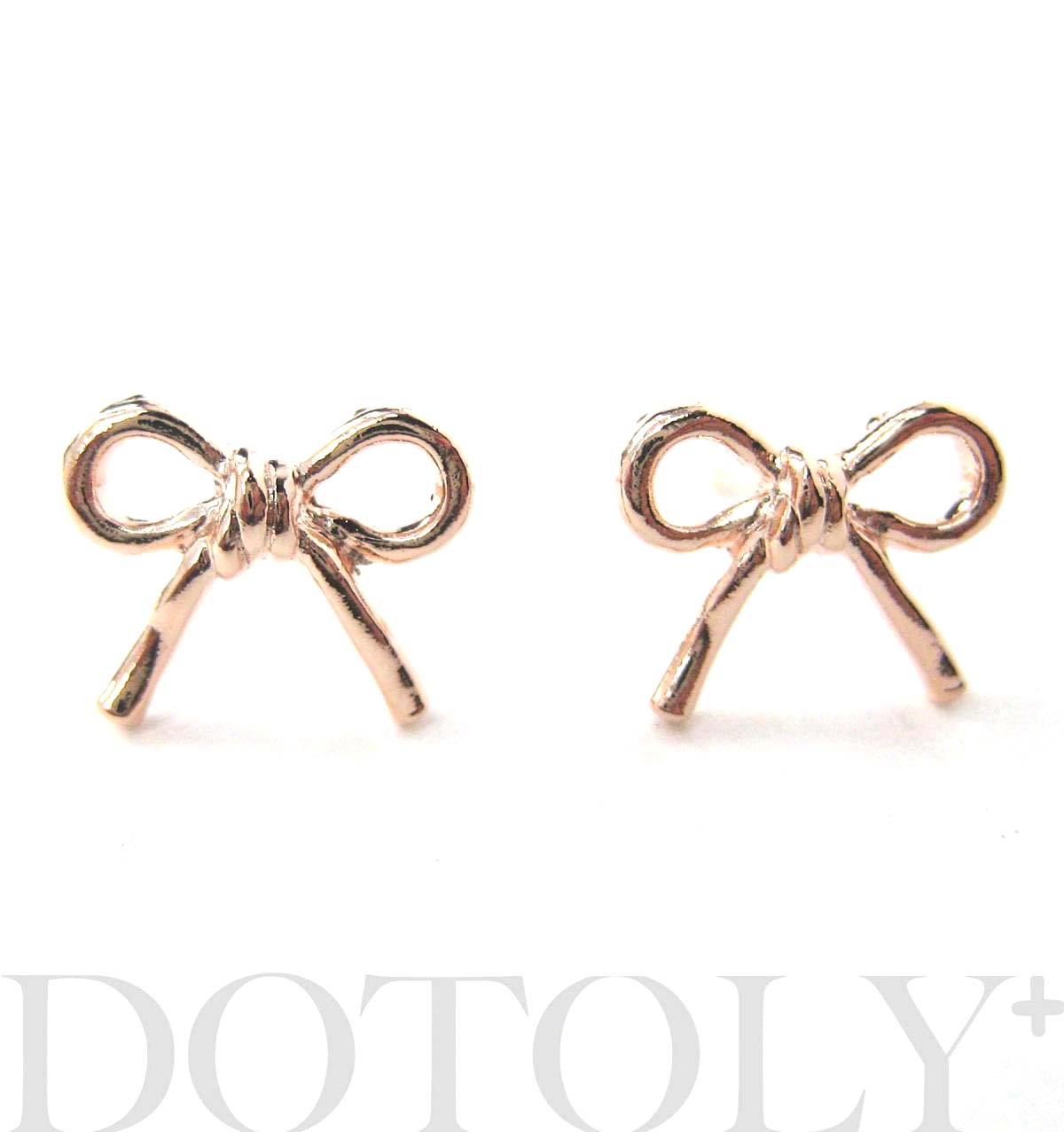 Simple Bow Tie Ribbon Knot Shaped Stud Earrings In Light Gold