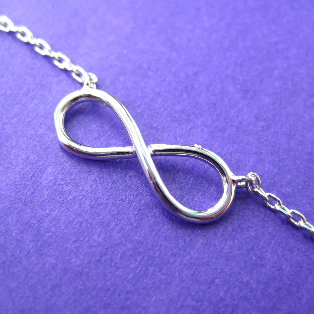 Simple Infinity Loop Outline Promise Friendship Necklace in Sterling Silver