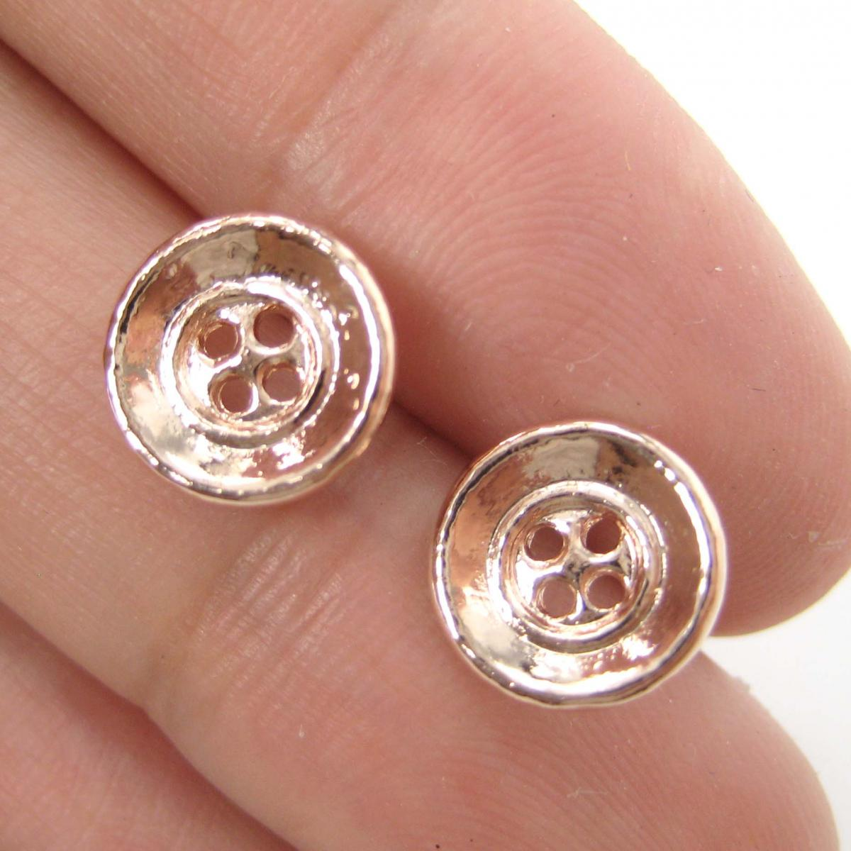 Cute as a Button - Small Round Button Stud Earrings in Rose Gold