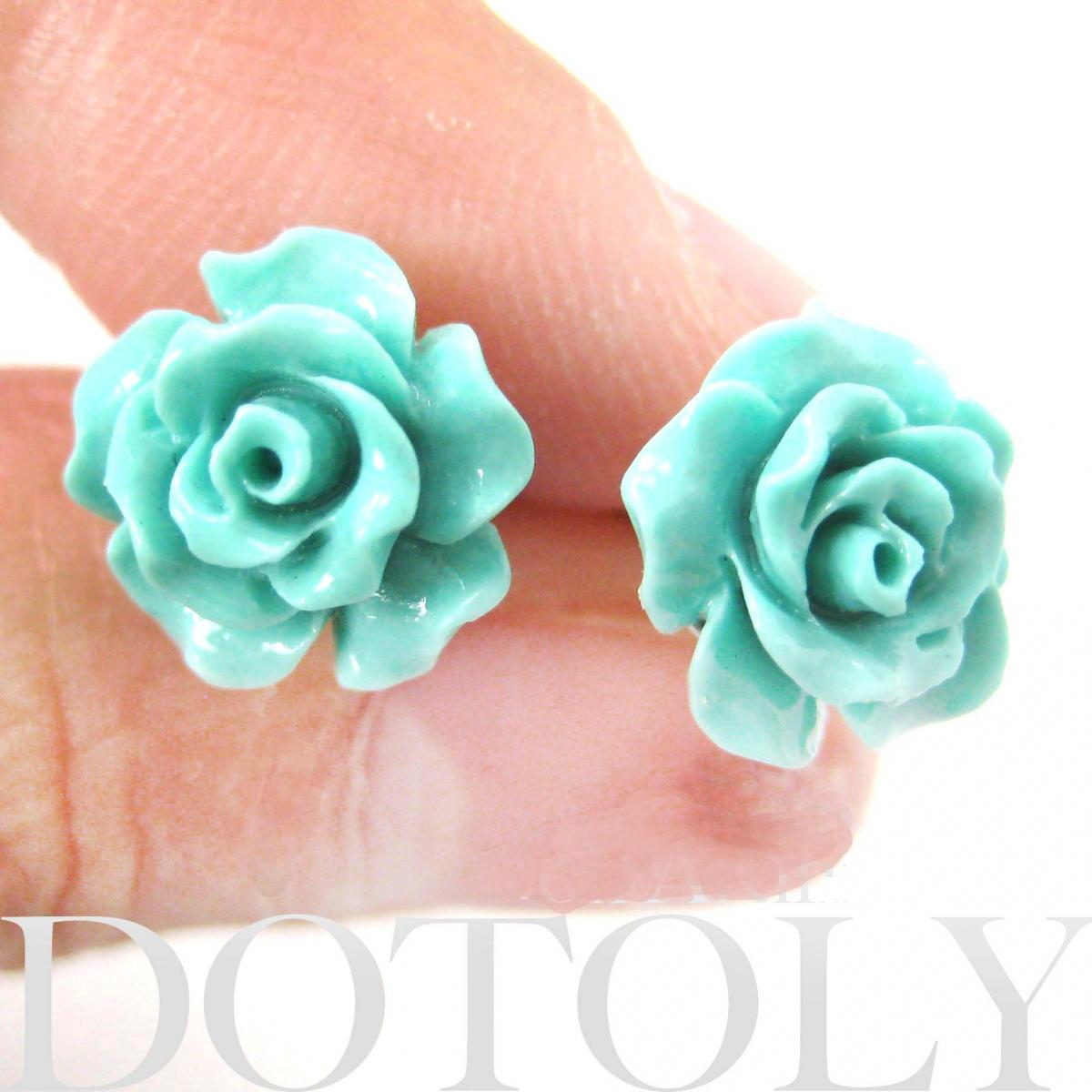 Small Floral Rose Resin Stud Earrings in Mint Blue Green