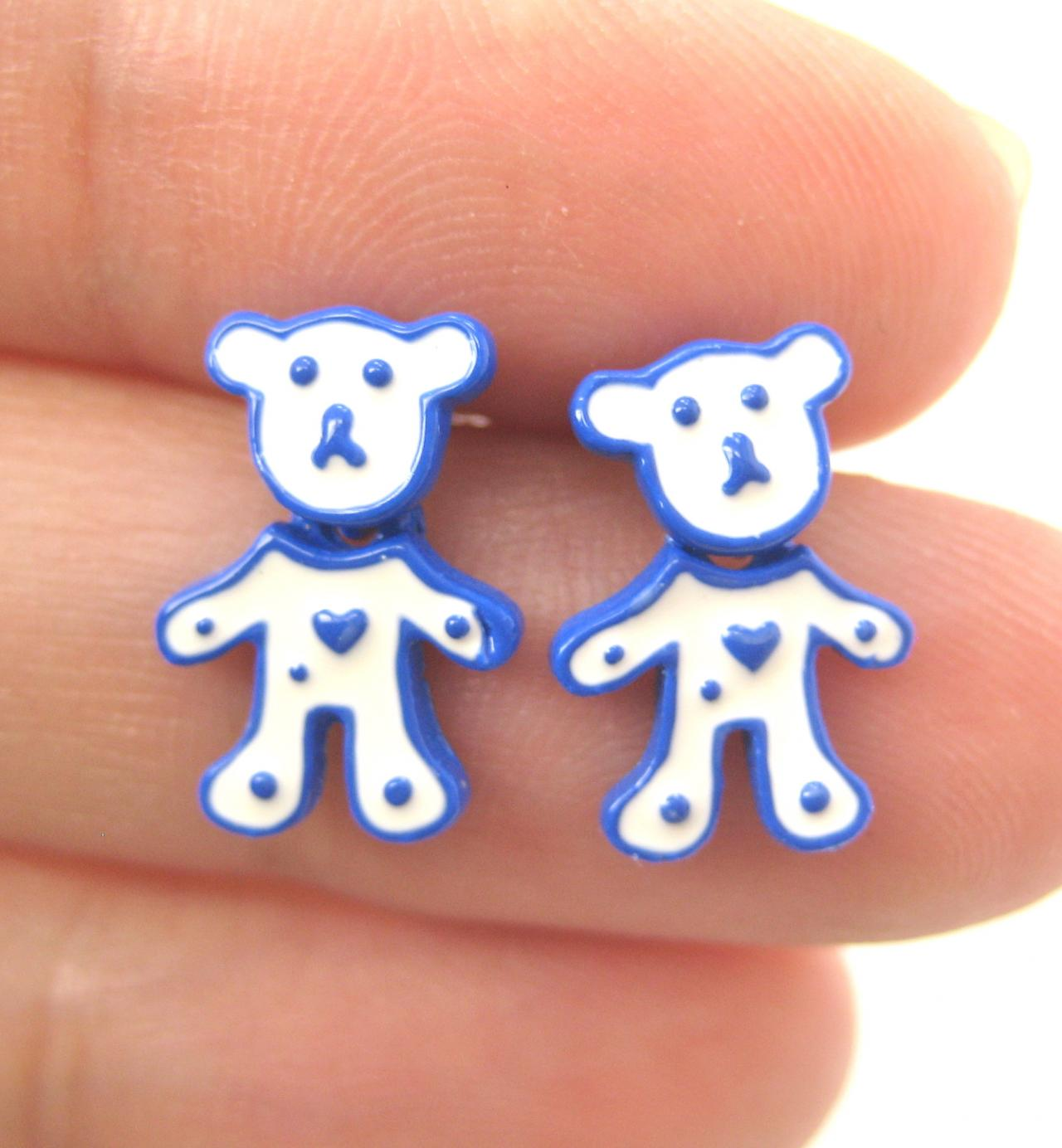 Teddy Bear Animal Stud Earrings in White on Blue - The Body Moves!