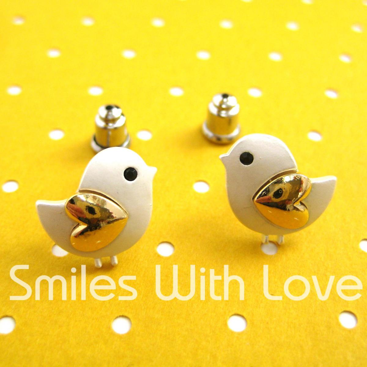Small Chicken Bird Animal Stud Earrings with Gold Heart Wings