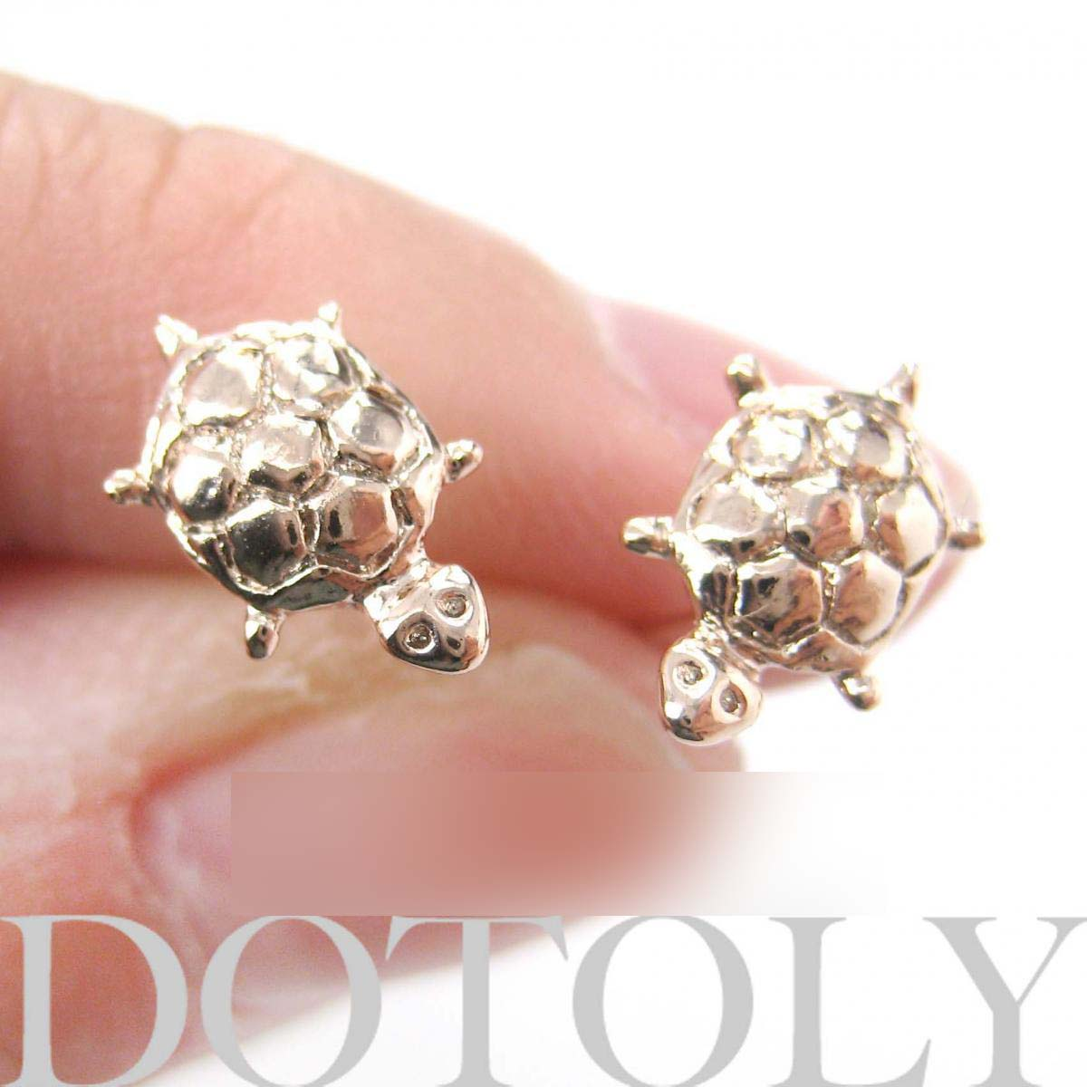 Small Turtle Tortoise Sea Animal Stud Earrings in Light Gold