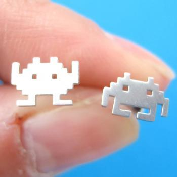 Atari Space Invaders Alien Pixel Stud Earrings in Sterling Silver