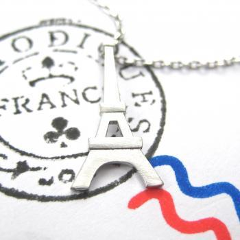 Paris France Eiffel Tower Travel Necklace in Sterling Silver