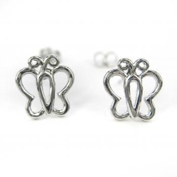 Small Butterfly Wings Animal Cut Out Outline Earrings in Silver