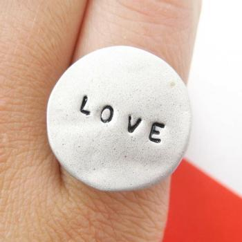 Simple Love Letters Stamped Round Hammered Ring in Silver