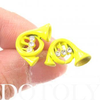Small Trumpet Yellow Musical Instrument Stud Earrings