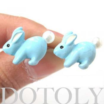 Super Cute Rabbit Animal Bunny Stud Earrings in Light Blue with Pearls