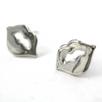 Small Rolling Stones Lips and Tongue Stud Earrings in Silver