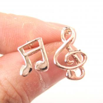 Musical Note Shaped Stud Earrings in Rose Gold: Treble Clef and Quaver Note