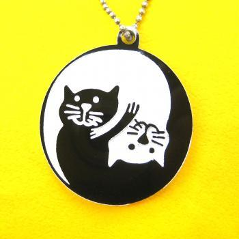Kitty Cat Yin Yang Round Animal Pendant Necklace