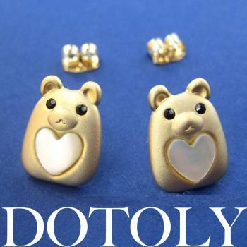 Teddy Bear Animal Stud Earrings in Gold with Pearl Heart ALLERGY FREE