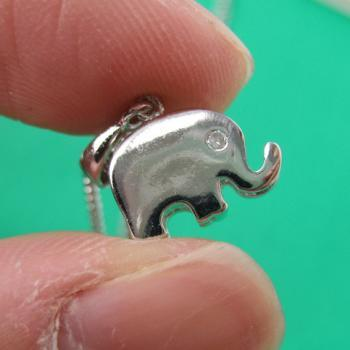 Small Simple Elephant Animal Charm Necklace in Silver