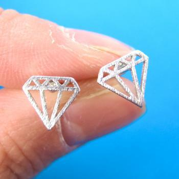 Diamond Shaped Stud Earrings in Sterling Silver