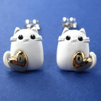 Kitty Cat Animal Earrings in Silver with Gold Hearts ALLERGY FREE