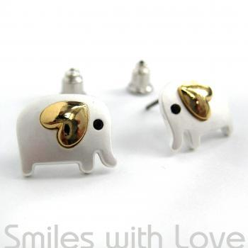 Small Elephant Earrings in Silver with Gold Heart Detail- ALLERGY FREE