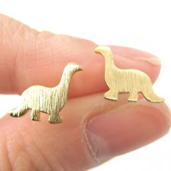 Dinosaur Shape Animal Stud Earrings in Copper with Sterling Silver Posts