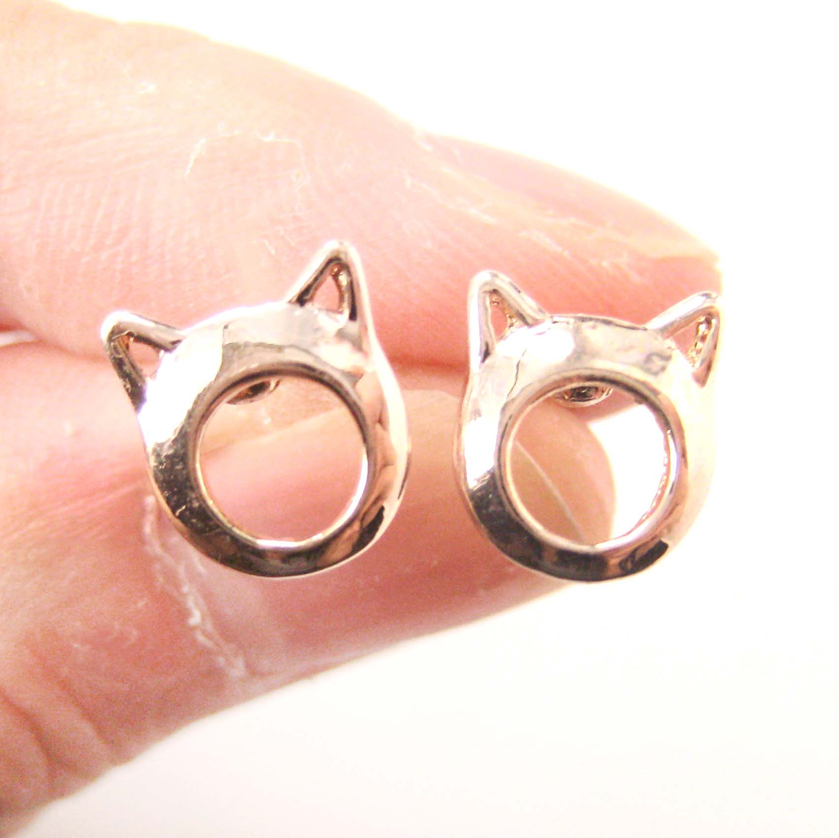 Cute Kitty Cat Ears Animal Shaped Stud Earrings In Rose Gold