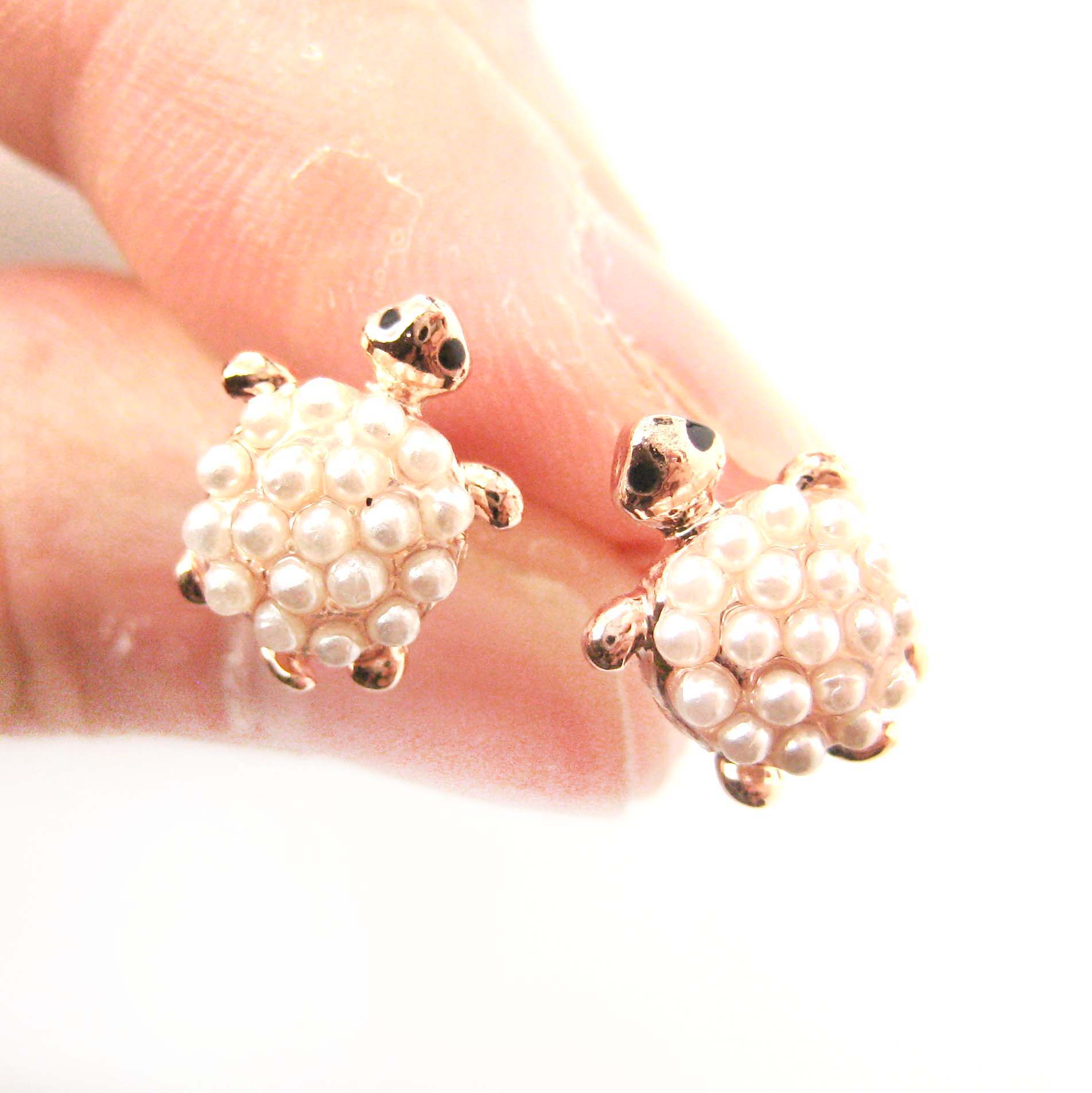 tortoise pearl with sea animal original details realistic turtle rose in product earrings gold shaped stud