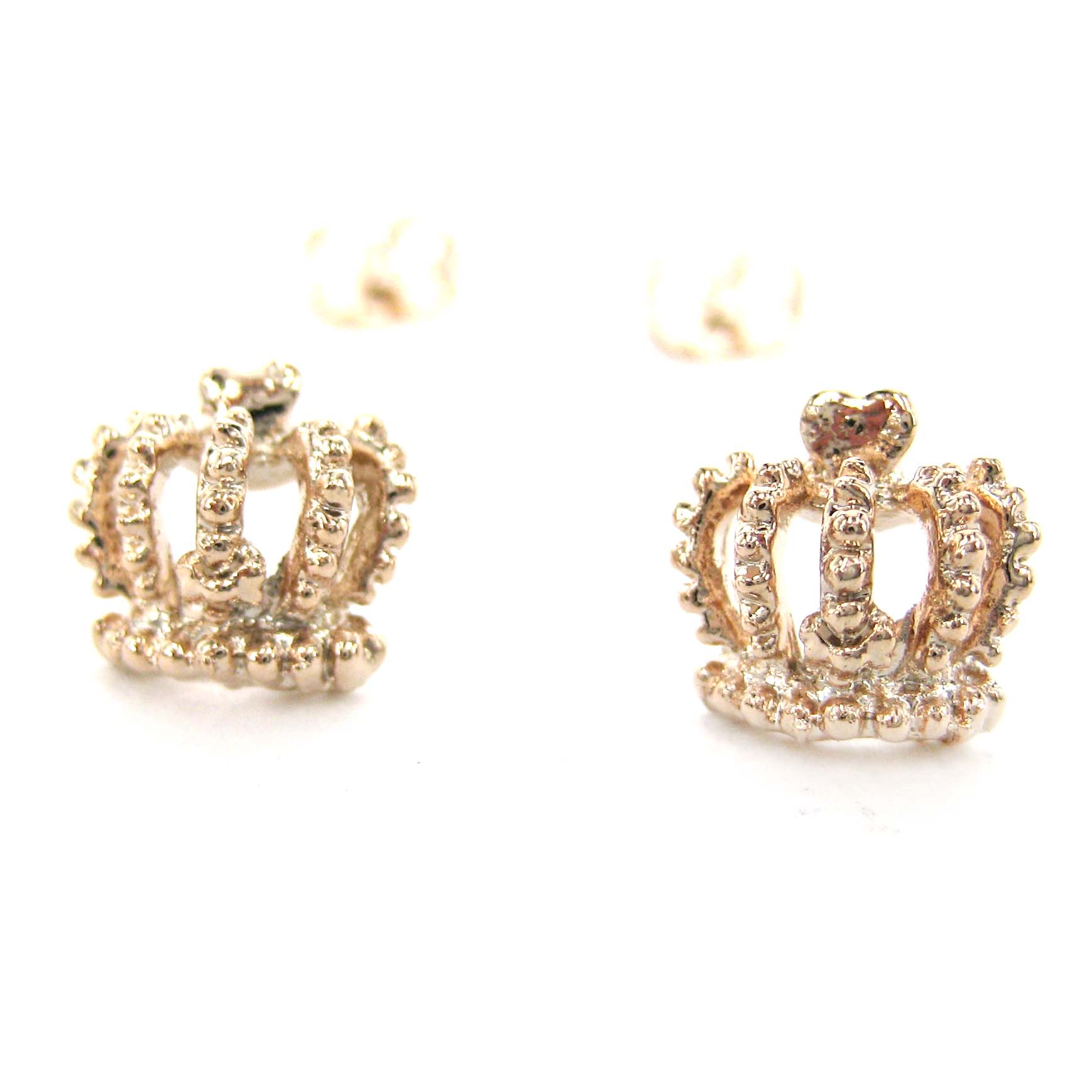 sterling teens girls ss products princess earrings pink silver stud cz for heart crown